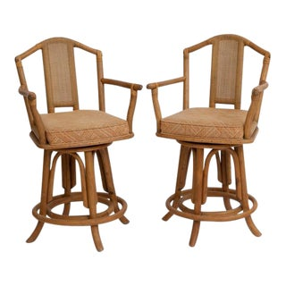 Ficks Reed Style Bamboo Bar Stools - A Pair For Sale