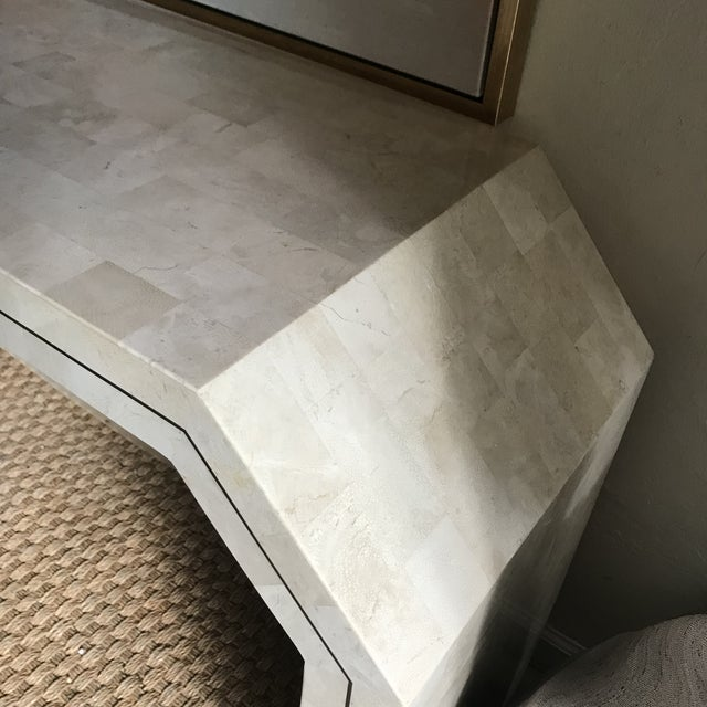 1970s Contemporary Maitland Smith Tessellated Stone Console Table For Sale - Image 9 of 12