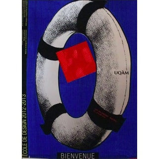 2013 Original Ecole Du Design Uqam Bienvenue Poster (Dark Blue) - Alfred Halasa For Sale