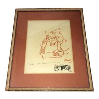 1965 Original Frank Kleinholz Signed Drawing For Sale