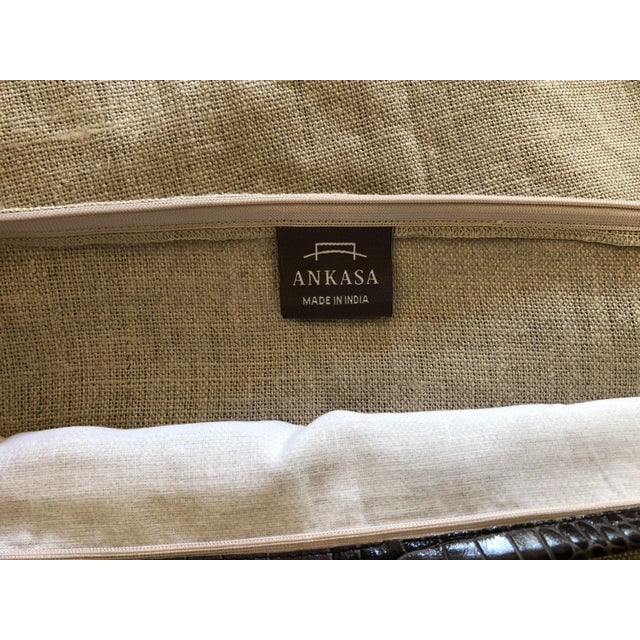 Ankasa Linen 'Crosby' Pillow Cover With Leather Trim For Sale In Washington DC - Image 6 of 9