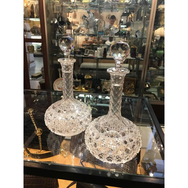 American Classical Late 19th Century Antique Hand-Cut Glass Wine Claret Decanters - A Pair For Sale - Image 3 of 9