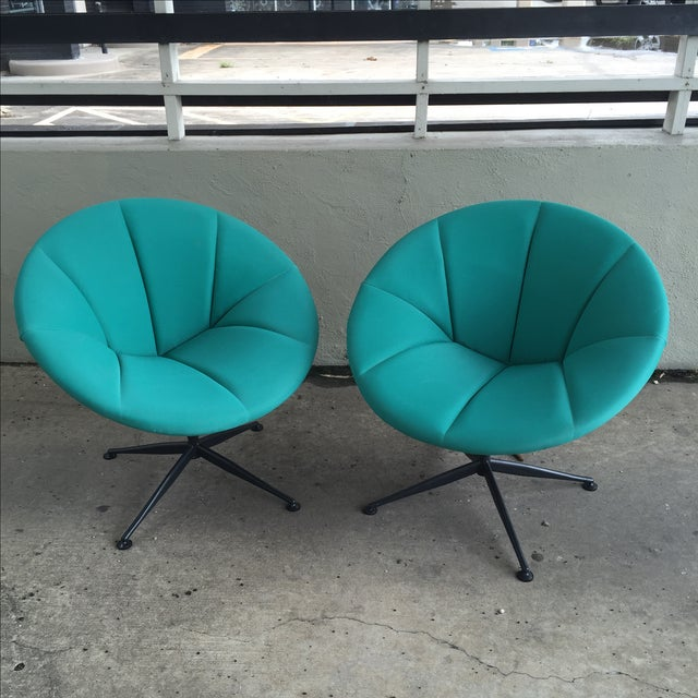 Turquoise Saucer Swivel Chairs - A Pair - Image 2 of 9