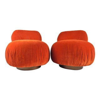 1970s Persimmon Velvet Pouf Swivel Chairs, Pair For Sale