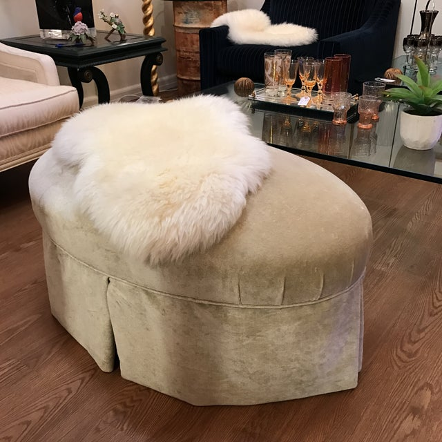 Contemporary Oval Upholstered Ottoman - Image 3 of 8