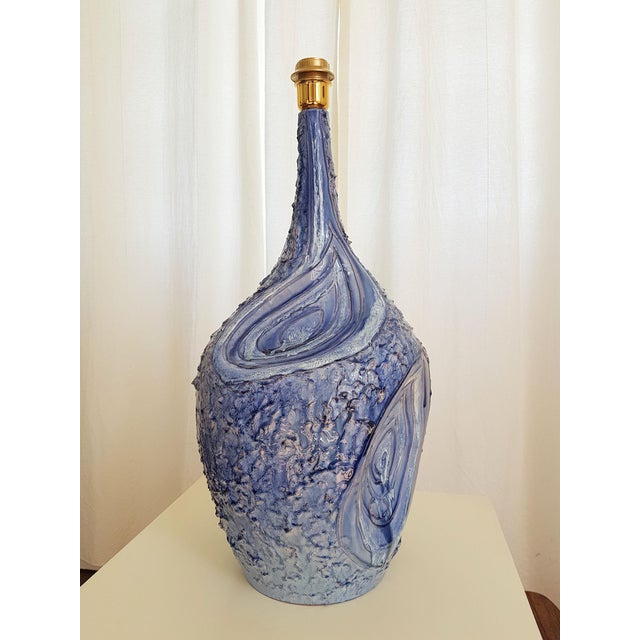 Arts & Crafts Signed Large Blue Ceramic Italian Lamps, 1980s Mediterranean Style - a Pair For Sale - Image 3 of 12