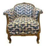 Image of Zac and Fox Linen & Gold Leaf Louis XIV Chair For Sale