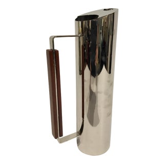 Modern Stainless Steel and Wood Pitcher For Sale