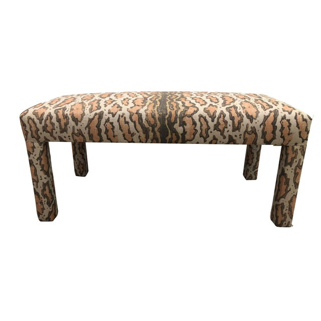Late 20th Century Parson Upholstered Bench For Sale - Image 9 of 9