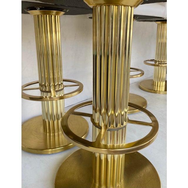 Brass 1980s Vintage Designs for Leisure Barstools - Set of 5 For Sale - Image 8 of 12