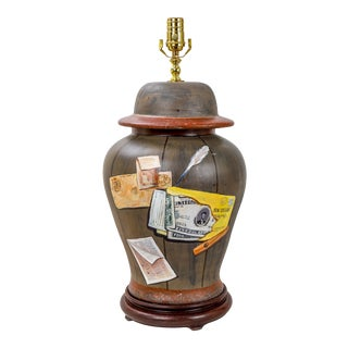 Vintage Temple Jar Handpainted in the Style of a Tromp'Loil , Money on Faux Wood For Sale