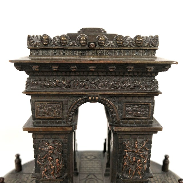 Late 19th Century Small Grand Tour Bonze Architectural Model of the Arc De Triomphe in Paris For Sale - Image 5 of 11