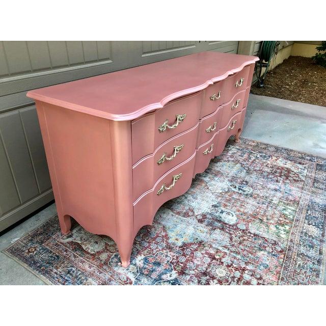 Blush Vintage Drexel French Provincia Pink Triple Dresser For Sale - Image 8 of 13