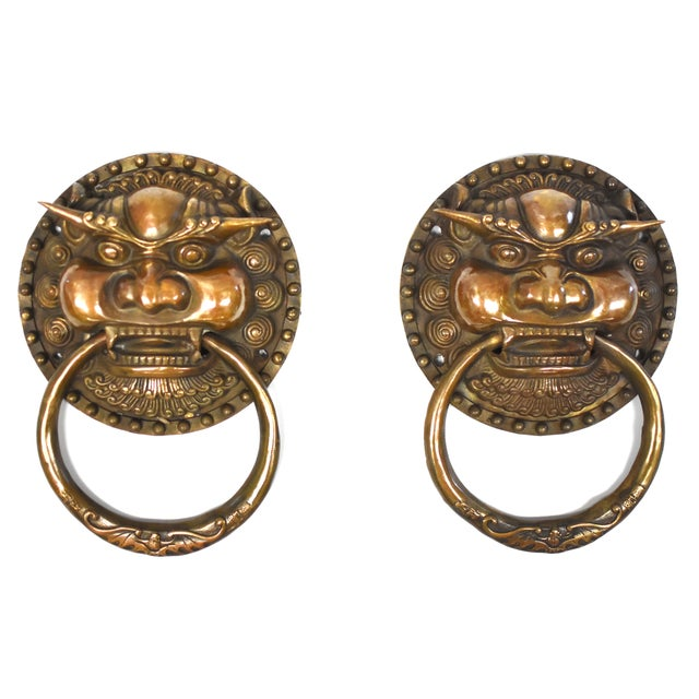Late 20th Century Vintage Dragon King Motif Brass Door Knockers- a Pair For Sale - Image 13 of 13