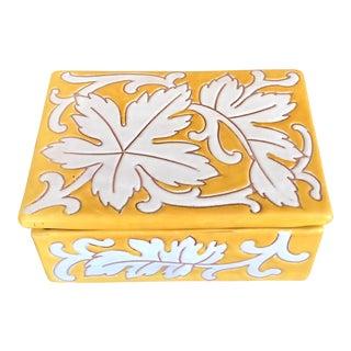 Vintage Yellow White Italian Pottery Box For Sale