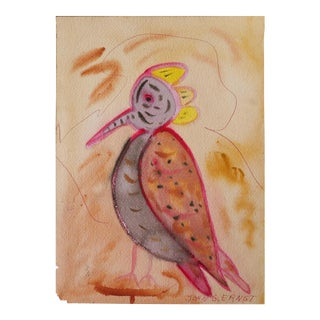 "1965 John Ernst (1920 - 1995) ""Bird"" Woodstock Artist, Watercolor Painting on Paper For Sale"