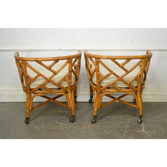 McGuire Style Rattan Bamboo Barrel Back Club Chairs - a Pair For Sale - Image 4 of 13