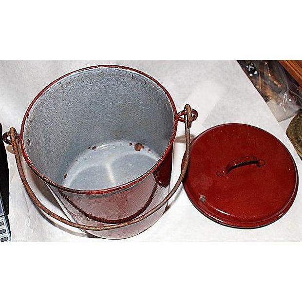 French Emanelware Lidded Pot & Pitcher - Image 7 of 7
