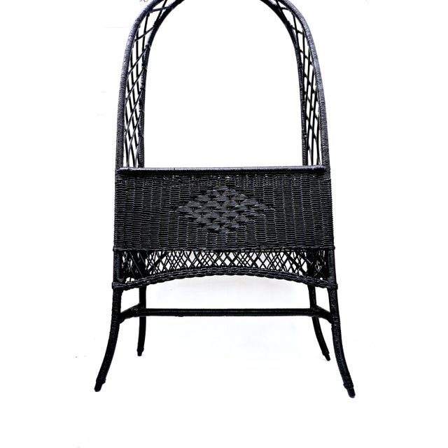 Lacquer Black Lacquered Wicker Plant Stand Arched Trellis Fernery Box For Sale - Image 7 of 11