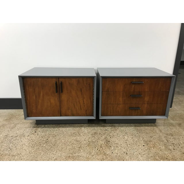 Gray Midcentury Walnut and Grey Painted Nightstands by Lane - a Pair For Sale - Image 8 of 8