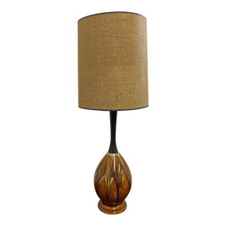 Mid-Century Modern Drip Glaze Ceramic Walnut Table Lamp For Sale
