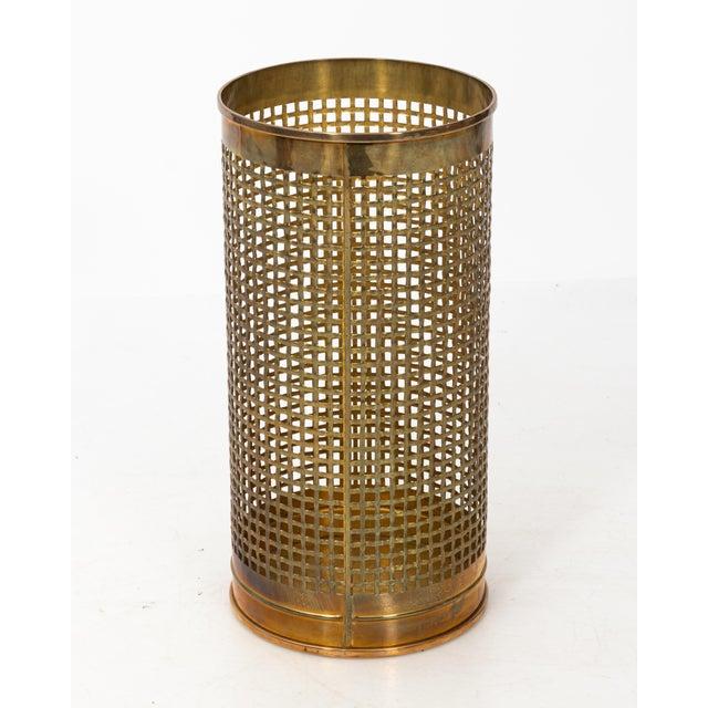 Hollywood Regency Solid Brass Basket Weave Umbrella Stand For Sale - Image 3 of 6
