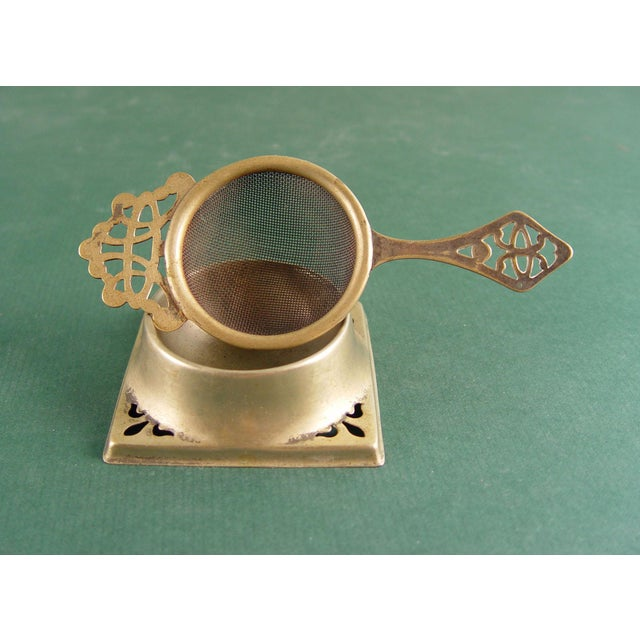 Vintage English Tea Strainer & Stand For Sale - Image 4 of 7