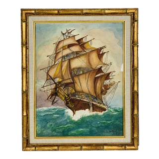 1980s Sailboat on the Open Seas Watercolor Framed Painting For Sale
