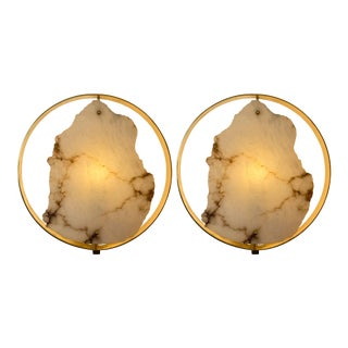Contemporary Pair of Alabaster Circle Brass Sconces. Italy For Sale
