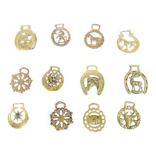 Antique Horse Brass Christmas Ornaments - Set of 12 For Sale