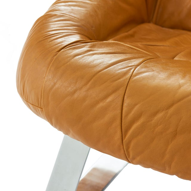 1970s Percival Lafer 'Earth' Chrome & Leather Lounge Chair For Sale - Image 5 of 9