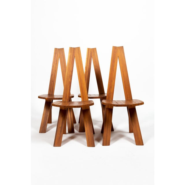 Four Chairs by Pierre Chapo S45 in Solid Elm For Sale - Image 11 of 12