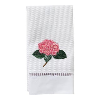 Pink Hydrangea Guest Towel White Waffle Weave, Ladder Lace, Embroidered For Sale