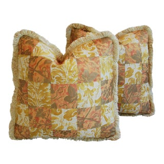 "21"" Custom Tailored Italian Mariano Fortuny Edera & Lucrezia Feather/Down Pillows - Pair"