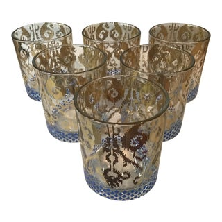 Patina Vie Gilt and Cobalt Design Rocks Glasses - Set of 6 For Sale