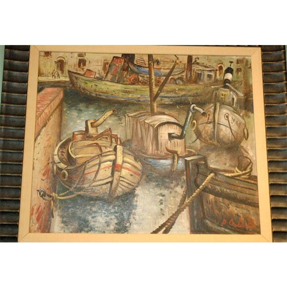 Black Wpa Style Ship Paintings - Set of 4 For Sale - Image 8 of 10