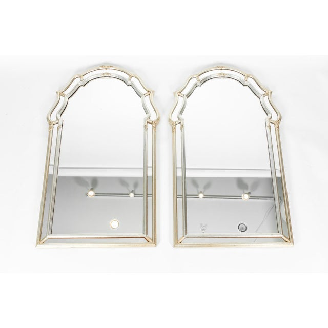 Vintage Silvered Gold Wood Framed Hanging Wall Mirrors A Pair Chairish
