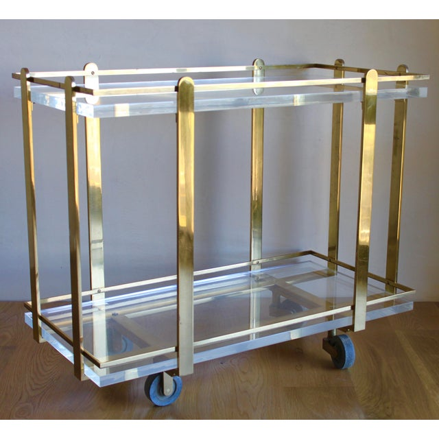 Extremely Rare Karl Springer Custom Ordered Mid Century Modern Heavy Brass and Lucite Bar Serving Cart Table For Sale In San Diego - Image 6 of 12