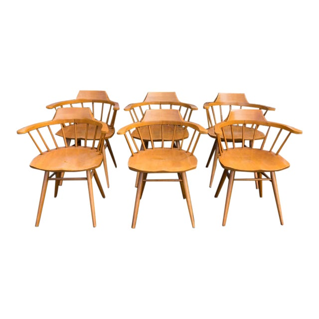 Walnut Captain Chairs by George Nakashima- Set of 6 For Sale