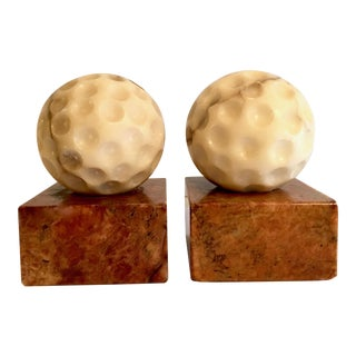 Vintage Marble Golf Ball Bookends With Red Marble Bases - a Pair