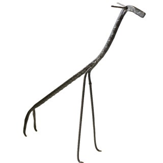 Vintage Black Iron Giraffe Sculpture