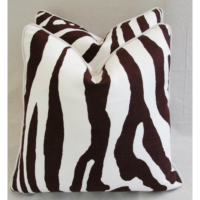 Custom Scalamandre Zebra Linen Pillows - Pair - Image 7 of 11