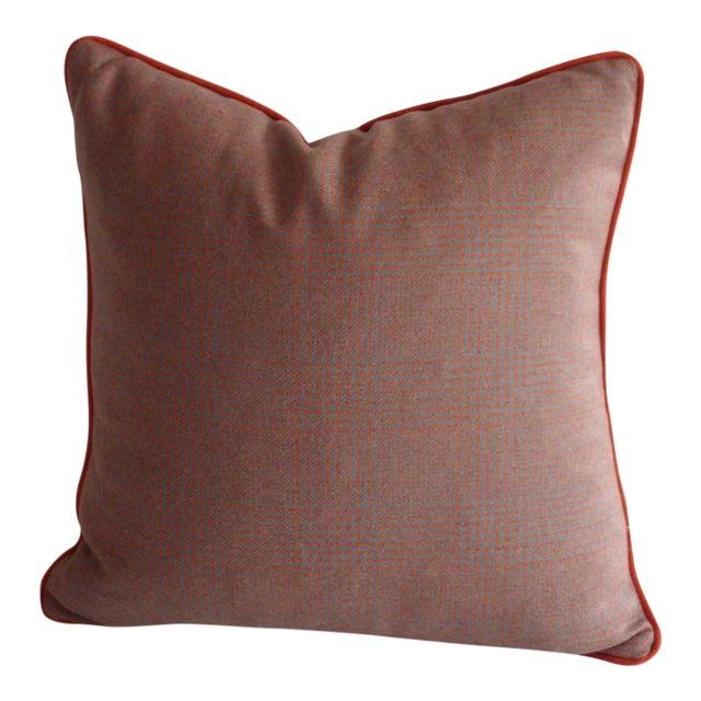Grey & Orange Plaid Pillow in Ralph Lauren Fabric - Image 1 of 4