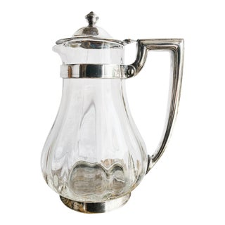 1929 Silver Plate and Glass Pitcher From Union Pacific Dining Car For Sale