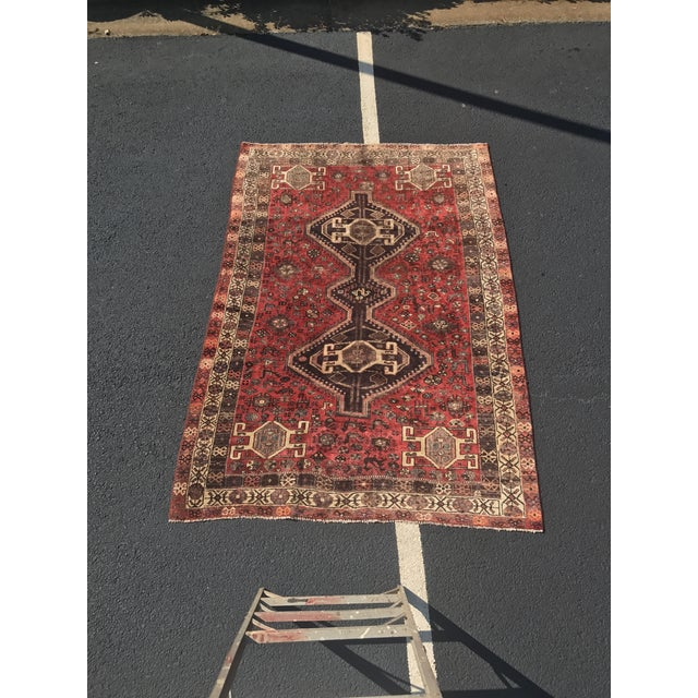 "Vintage Persian Shiraz Area Rug - 5'7""x8'1"" - Image 2 of 11"