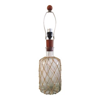 Vintage Nantucket Twine Wrapped Nautical Bottle Lamp For Sale