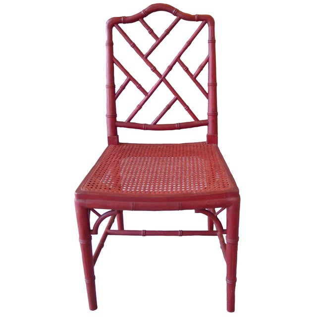 1960s Red Chinoiserie Bamboo-Style Chair - Image 4 of 7