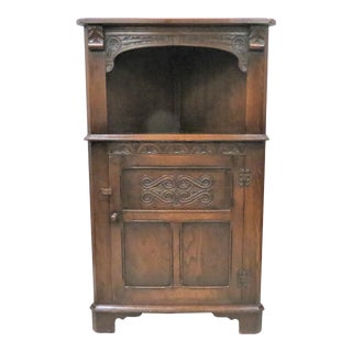 English Carved Oak Open Face Corner Cabinet For Sale