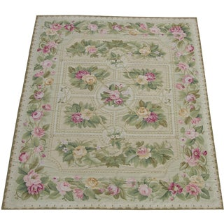 Floral Needlepoint Wool Handmade Rug - 9′ × 12′ For Sale