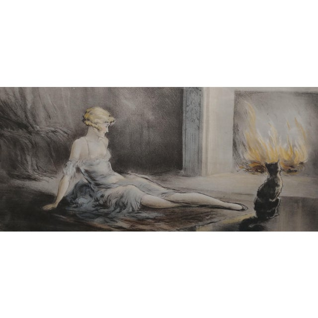 E. Naudy 1920s Art Nouveau Woman W/Cat by Fireplace Lithograph For Sale In Los Angeles - Image 6 of 10